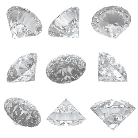 9 diamonds set isolated on white background
