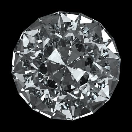 ronde diamant - geïsoleerd op zwarte achtergrond Stockfoto