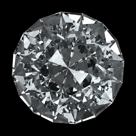 round brilliant: round diamond - isolated on black background