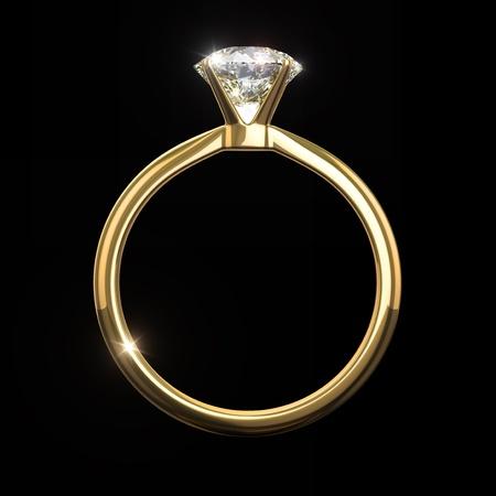 약혼: 다이아몬드 반지 - 검은 배경에 고립