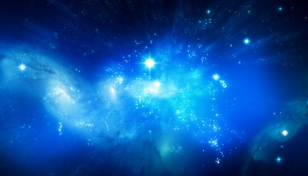 Beautiful blue galaxy background photo