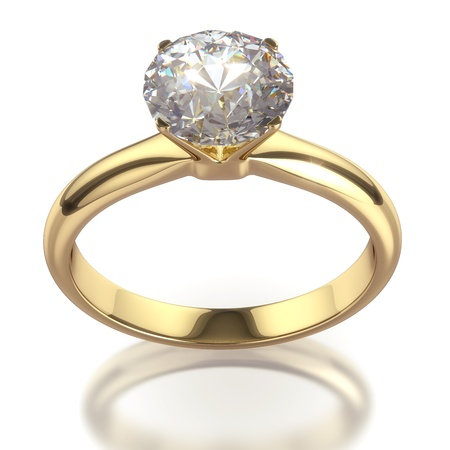 clipping  path: Diamond ring - isolated on white background with clipping path