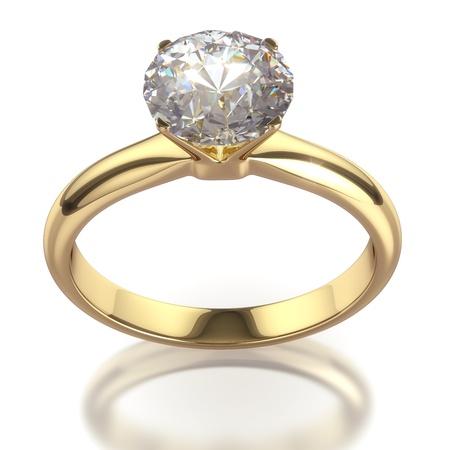 Diamond ring - geïsoleerd op witte achtergrond met clipping path Stockfoto