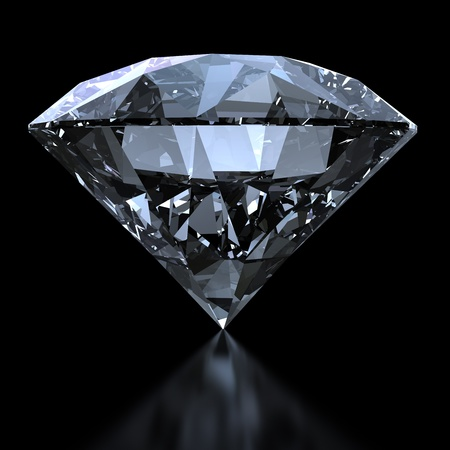 Shiny diamond on black background with clipping path