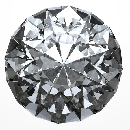 Glimmende diamant op witte achtergrond met clipping path Stockfoto