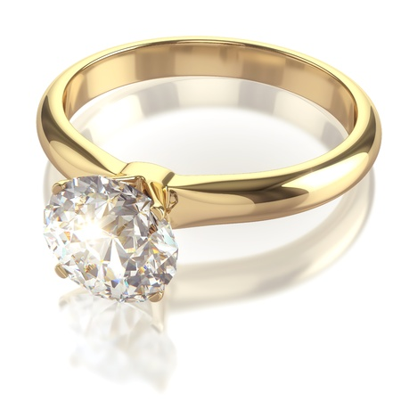 Luxury golden ring with big diamond - isolated with clipping path