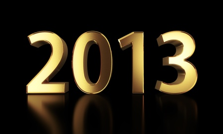 Golden 2013 year isolated with clipping path Stock Photo - 17497945