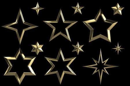 Golden stars collection isolated with clipping path Stock Photo - 17492475