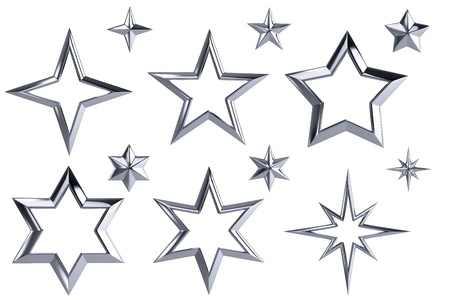 Golden stars collection isolated with clipping path photo