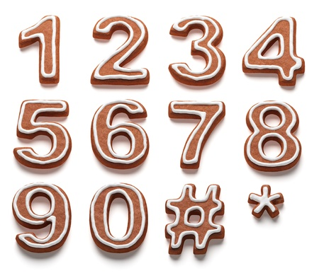 gingerbread numbers isolated with clipping path Stock Photo