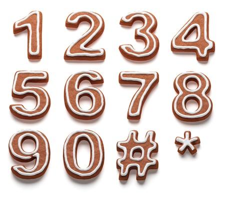 Peperkoek nummers geïsoleerd met clipping path Stockfoto - 17497958