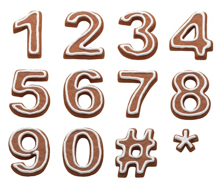 chocolate cookie: gingerbread numbers isolated with clipping path Stock Photo