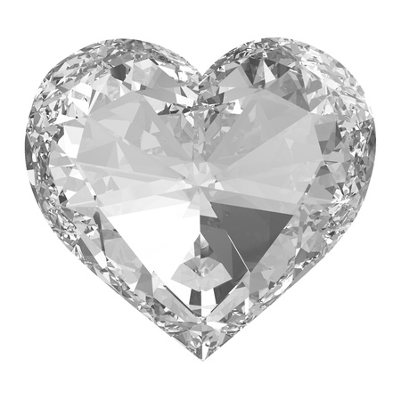 glass heart: Diamond heart isolated