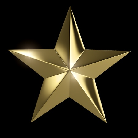 five star: Golden star  isolated with clipping path on black background Stock Photo