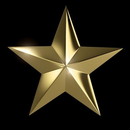 Gouden ster die met het knippen van weg op zwarte achtergrond