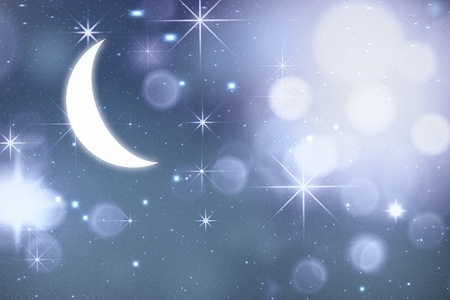 Abstract night sky background with shining stars and moon