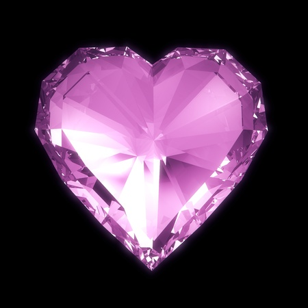 heart of stone: Purple diamond heart isolated on black BG with clipping path