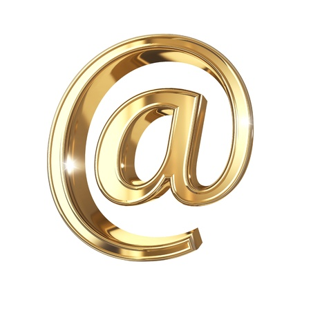 Golden symbol with clipping path isolated on white background