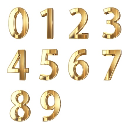number icons: golden numbers