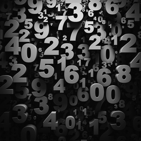 3D numbers wallpaper Stockfoto