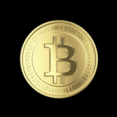 bit: Golden Bitcoin cryptography digital currency coins - isolated with clipping path