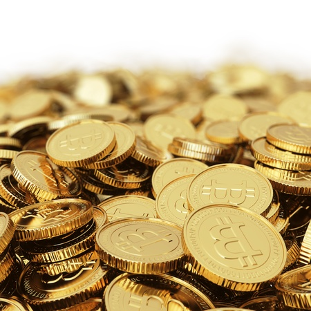 Golden Bitcoin cryptografie digitale munt munten - geïsoleerd met clipping path Stockfoto