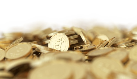 Golden Bitcoin digital currency background with DOF