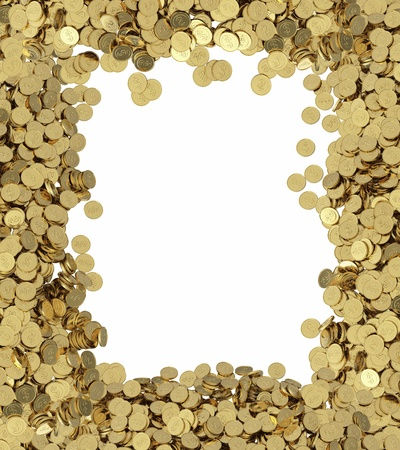 golden coins background with place for text