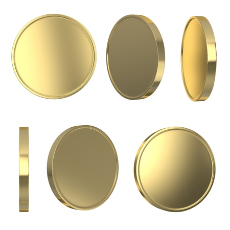 gold coins: Golden blank coins isolated on white with clipping path