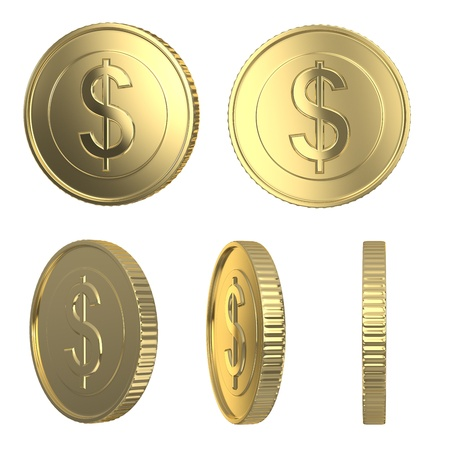 Golden dollar coins isolated on white with clipping path Stock Photo