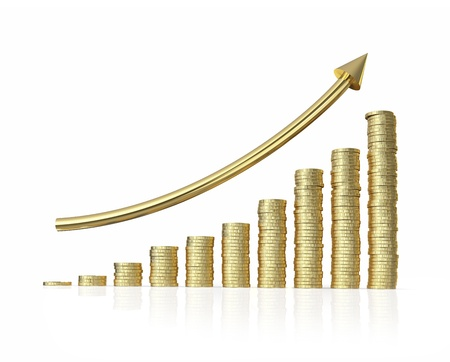 business success graph  isolated on white background with clipping path