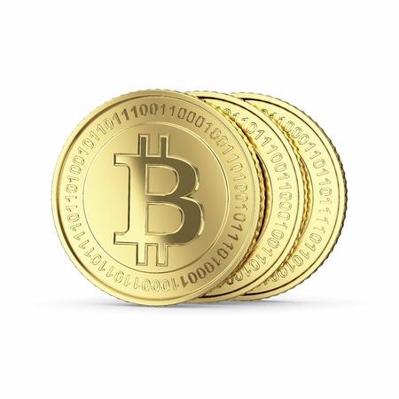 Golden Bitcoin cryptografie digitale munt tellers - geïsoleerd met clipping path Stockfoto