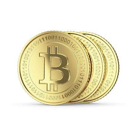 Golden Bitcoin cryptografie digitale munt tellers - geïsoleerd met clipping path Stockfoto - 19611254