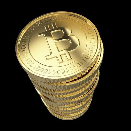 Golden Bitcoin cryptografie digitale munt munten - geïsoleerd met clipping path