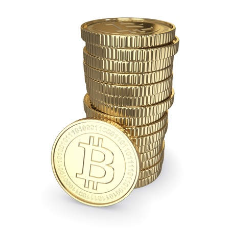 Golden Bitcoin cryptografie digitale munt munten - geïsoleerd met clipping path