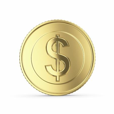Gouden dollar munt geà ¯ soleerd op een witte achtergrond met clipping path Stockfoto