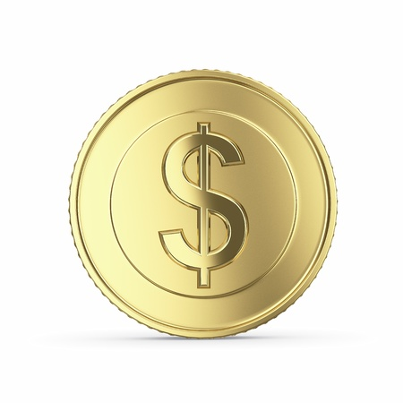 Golden dollar coin isolated on white background with clipping path Foto de archivo