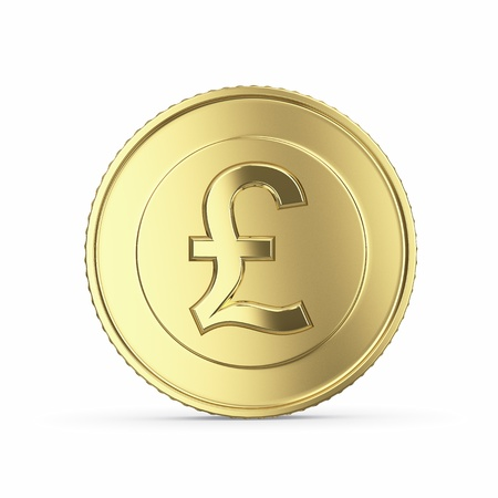 golden coins: golden pound coin on white background