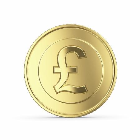 pound: golden pound coin on white background
