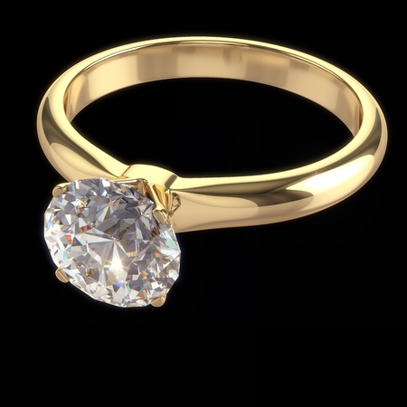 Diamond ring - isolated on black background with clipping path