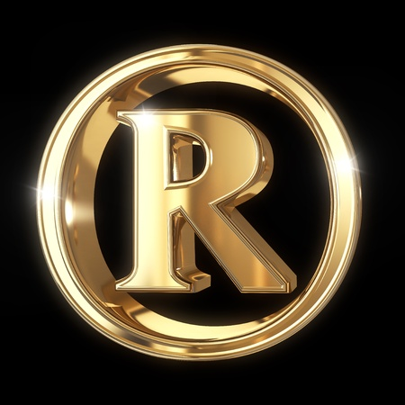 Golden 3D Trademark symbol isolated on black with clipping path - isolated on black background