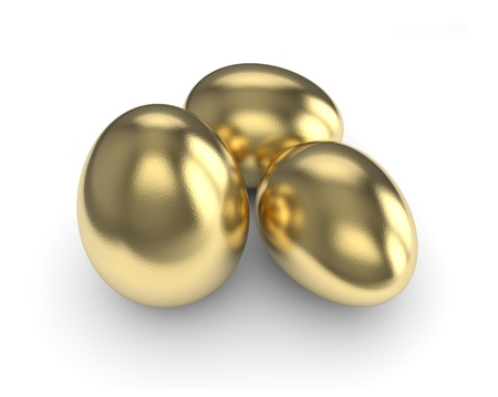 Golden Eggs isolated with clipping path photo