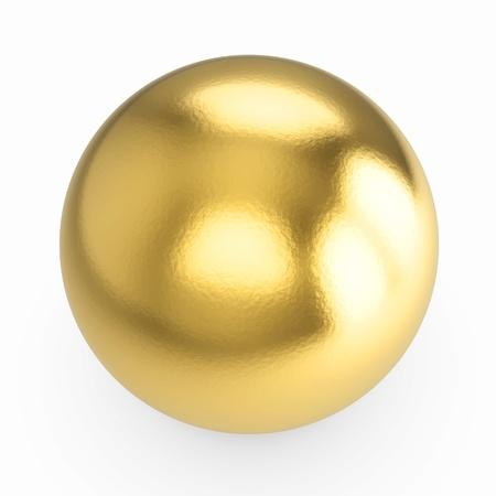 luxo: metal dourado esfera 3d - isolado com trajeto do clipping