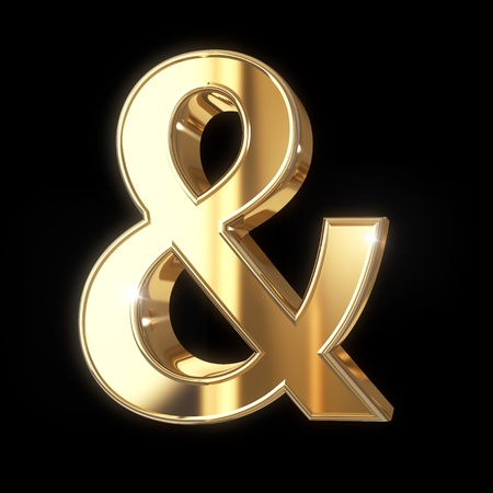 ampersand: Golden 3D ampersand symbol with clipping path - isolated on black background