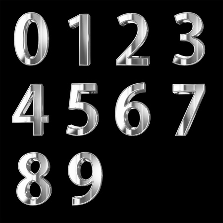 Silver 3D numbers isolated on black with clipping path photo