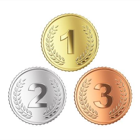 Golden, silver and bronze medal set. Isolated with clipping path, photo