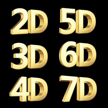 the third dimension: Golden symbol isolated on white with clipping path