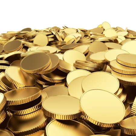 Golden blank coins isolated on white with clipping path