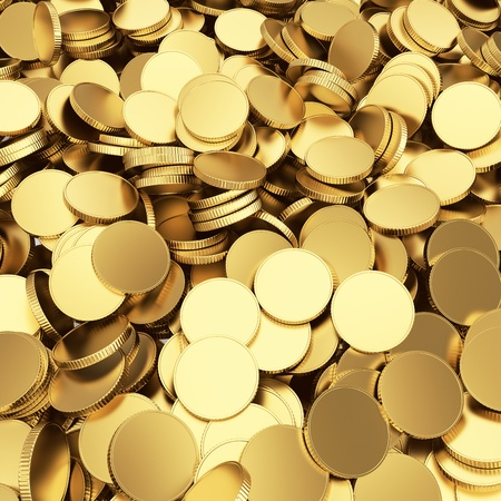 Golden shining blank coins renders - 3D background Stock Photo