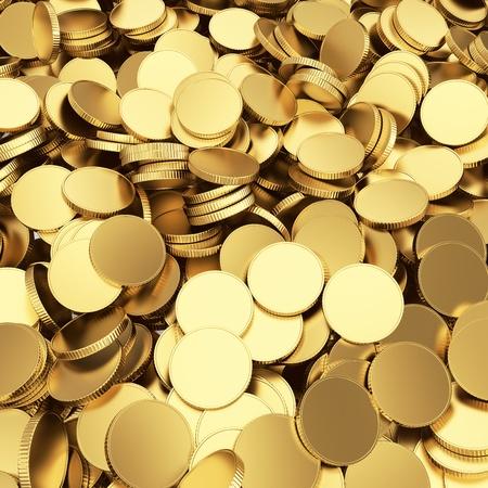 Golden shining blank coins renders - 3D background Foto de archivo